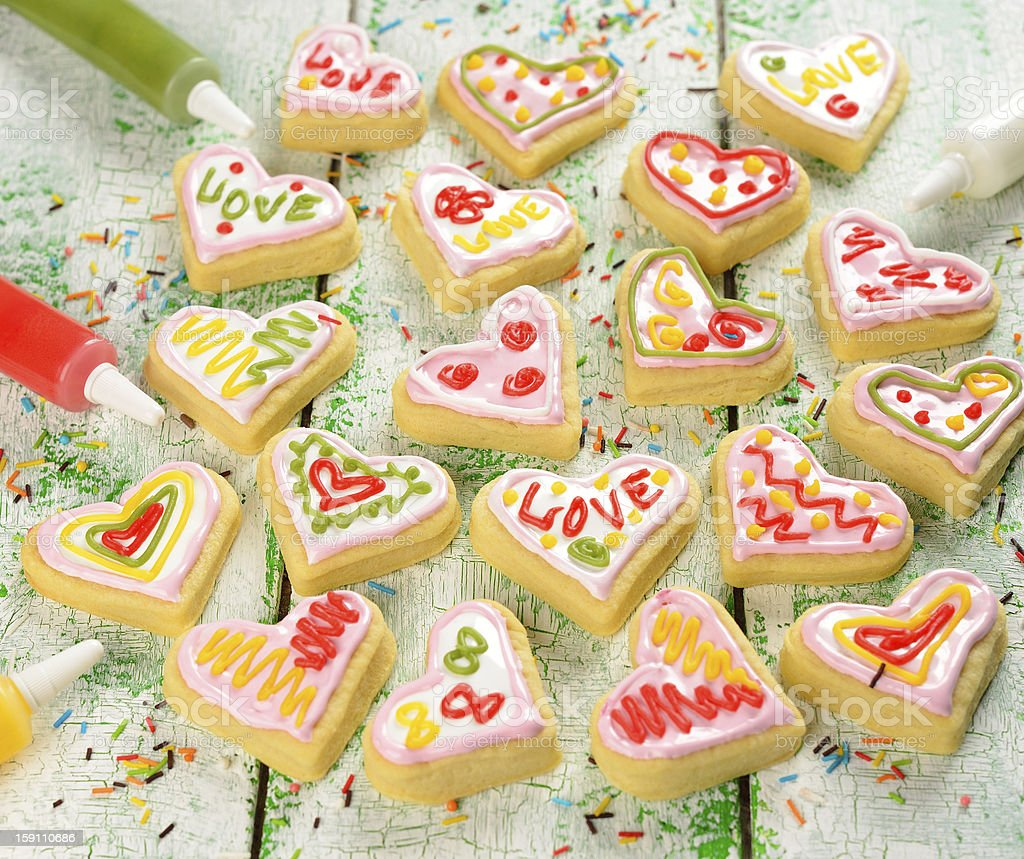 Cookies in the shape of heart royalty-free stock photo