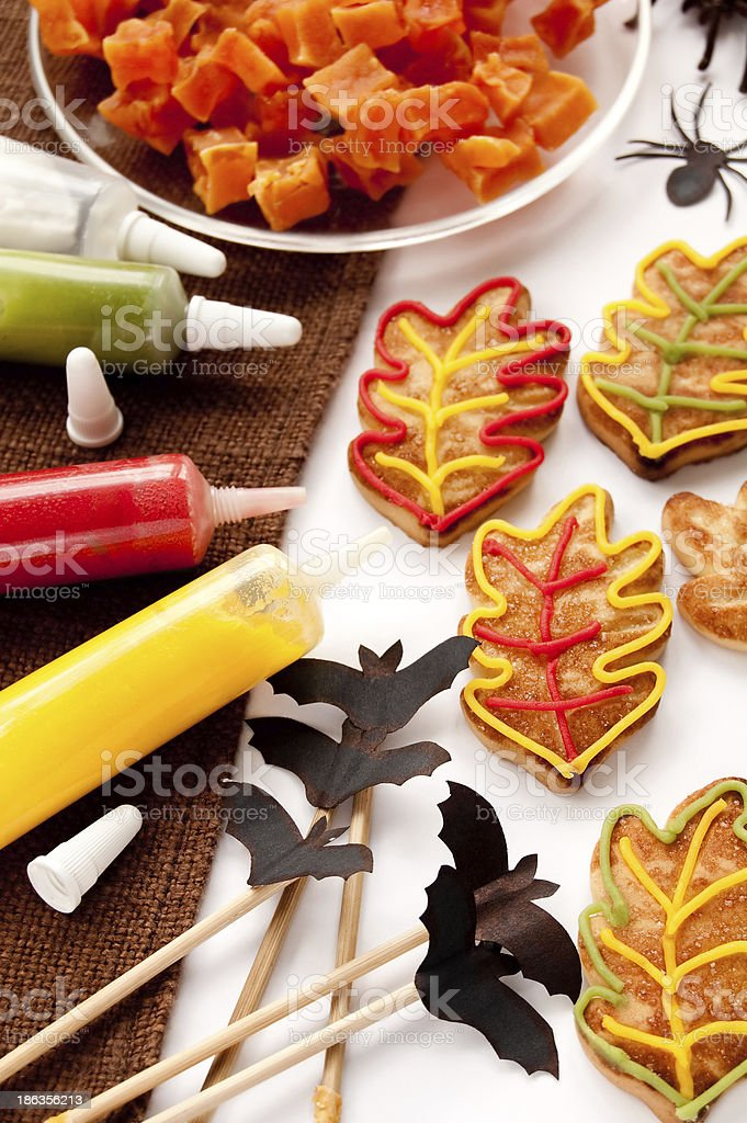 Cookies in the shape of leaves royalty-free stock photo
