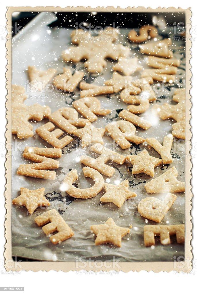 Cookies Merry Christmas Retro Vintage Frame Baking Lizenzfreies stock-foto