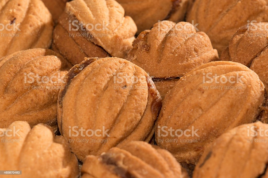 Cookies 'nuts' stuffed with boiled condensed milk stock photo
