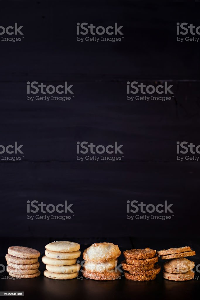 Cookies on a black background. stock photo