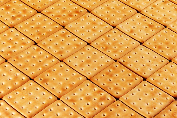 Cookies on a flat surface in perspective. stock photo