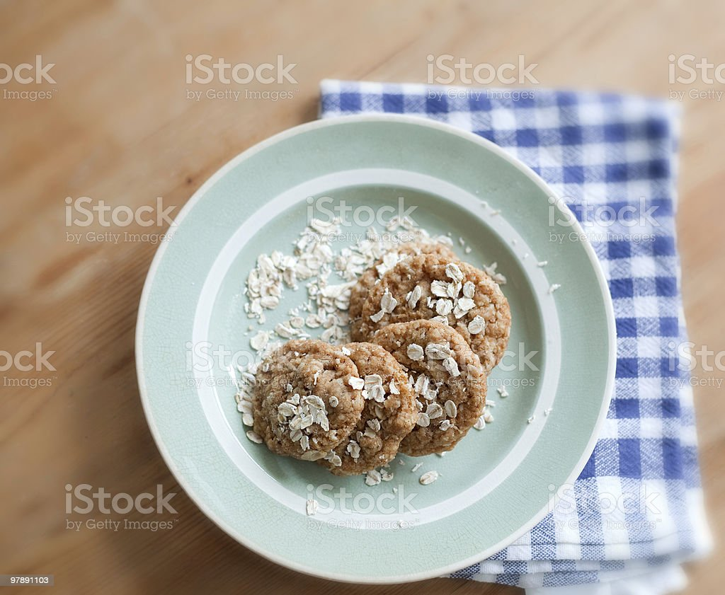 Cookies on a green plate royalty-free stock photo