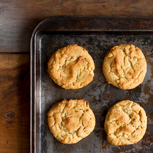 Cookies on a pan stock photo