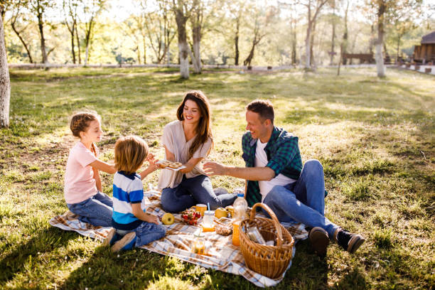 Cookies on a picnic! Happy family enjoying on a picnic at the park while mother is giving them cookies for snack. picnic stock pictures, royalty-free photos & images
