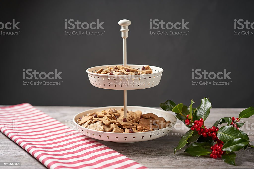 Cookies on a stand with Winter Decoration stock photo