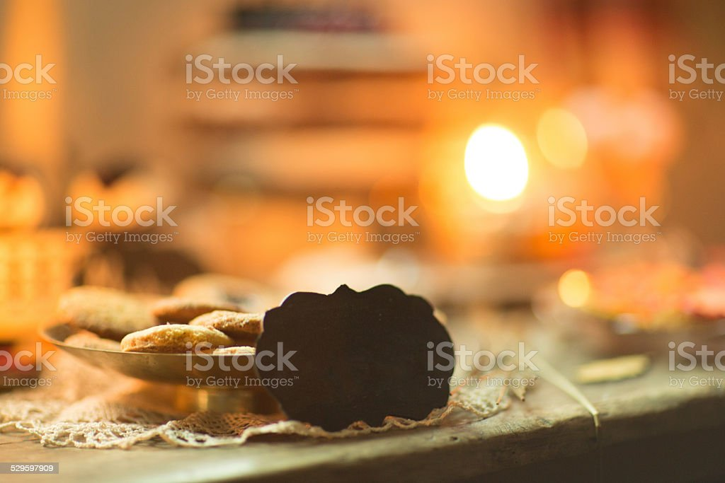 Cookies on a wedding table with a table for writing stock photo