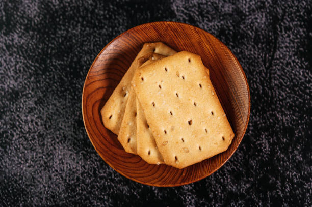 Cookies placed on a plate, taken from top view stock photo