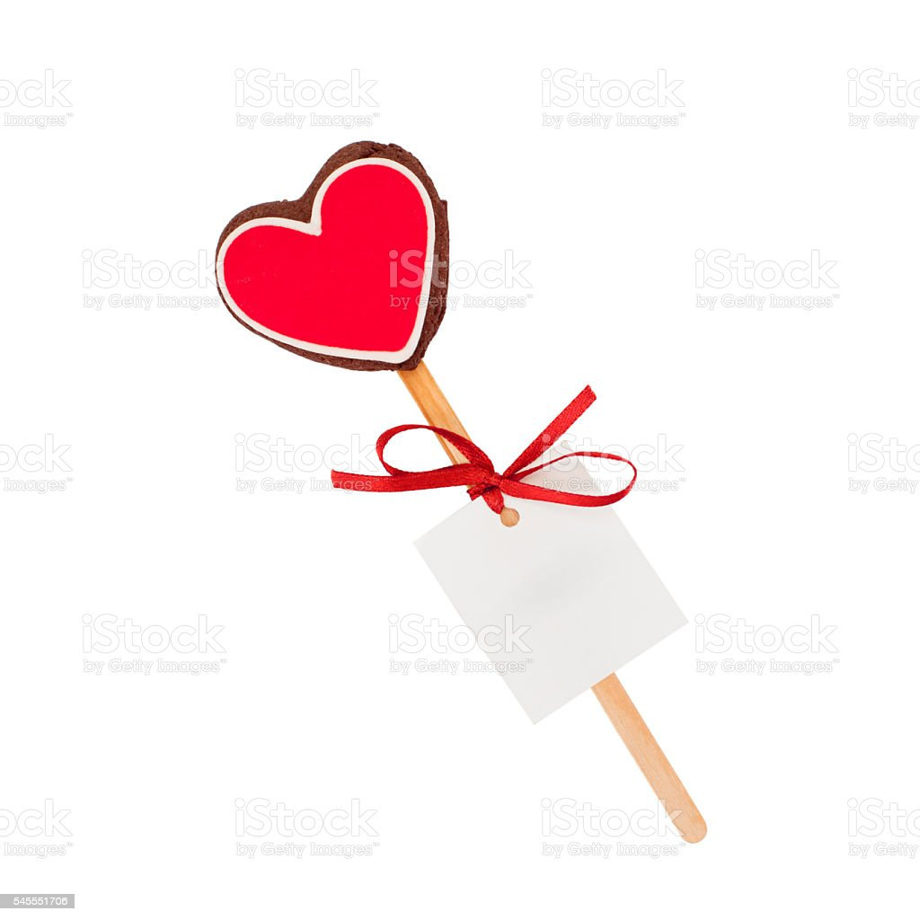 cookies red heart (isolated) stock photo