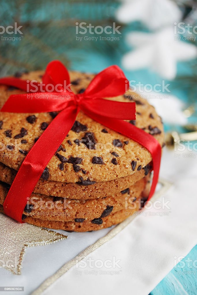 cookies tied a red ribbon royalty-free stock photo