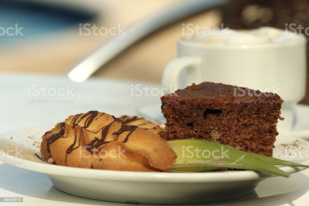 cookies with a cup cappuccino royalty-free stock photo