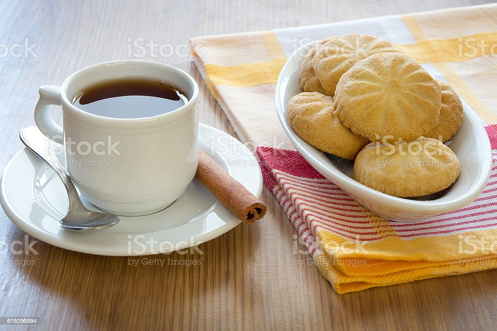 Cookies with a cup of Tea stock photo