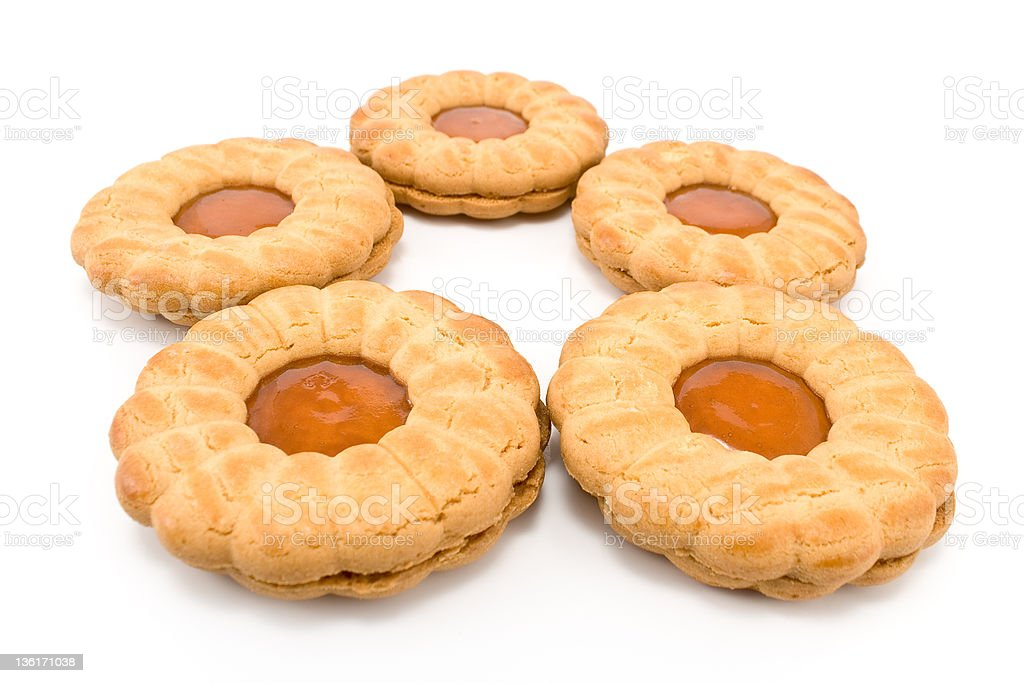 Cookies with apricot jam stock photo