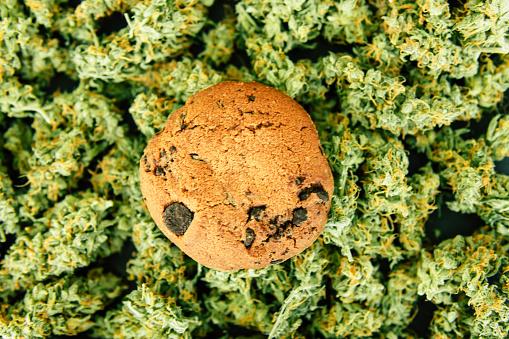 Koekjes Met Cannabis En Toppen Van Marihuana Op De Tafel Concept Van Het Koken Met Cannabis Kruid Behandeling Van Medische Marihuana Voor Gebruik In Levensmiddelen Op Een Zwarte Achtergrond Stockfoto en meer beelden van Blad