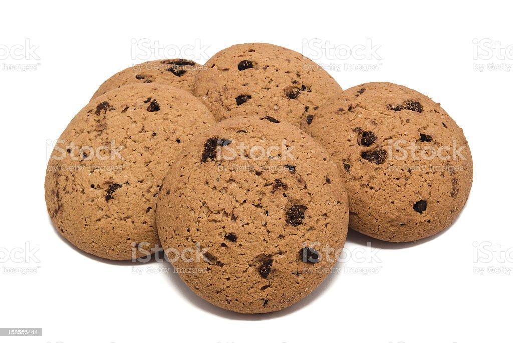 쿠키 초콜릿 낙하 흰색 바탕에 그림자와 royalty-free 스톡 사진