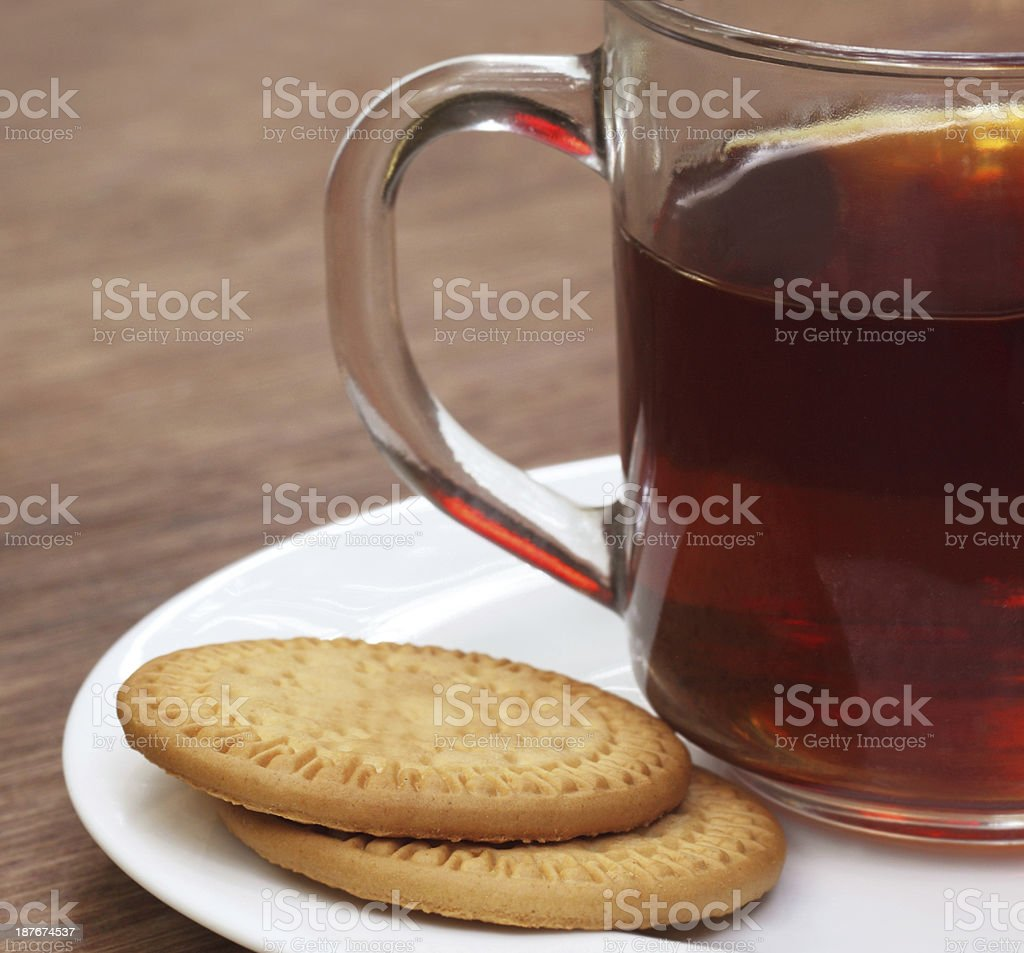 Cookies with cup of tea stock photo