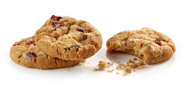 cookies mit getrockneten früchten - hafer cookies stock-fotos und bilder