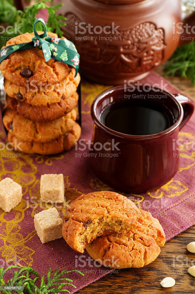 Cookies with peanuts and chocolate. stock photo