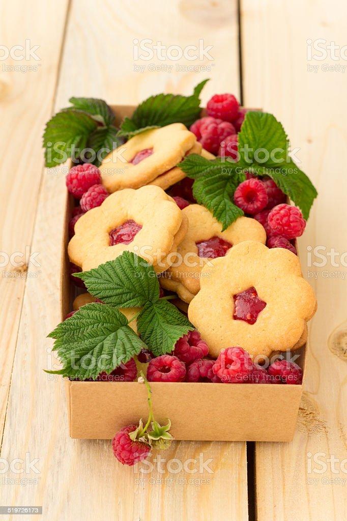Cookies with raspberry jam stock photo