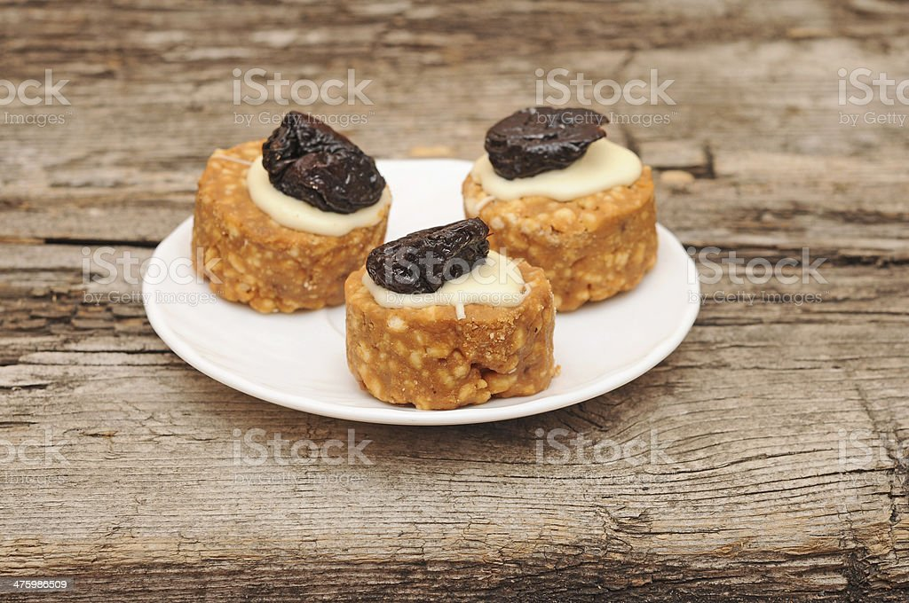cookies with whipped cream and prunes royalty-free stock photo