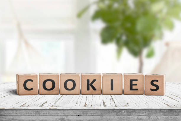 Cookies word on wooden blocks stock photo