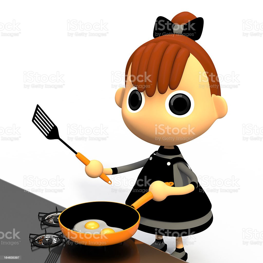 Cooking a fried egg. royalty-free stock photo