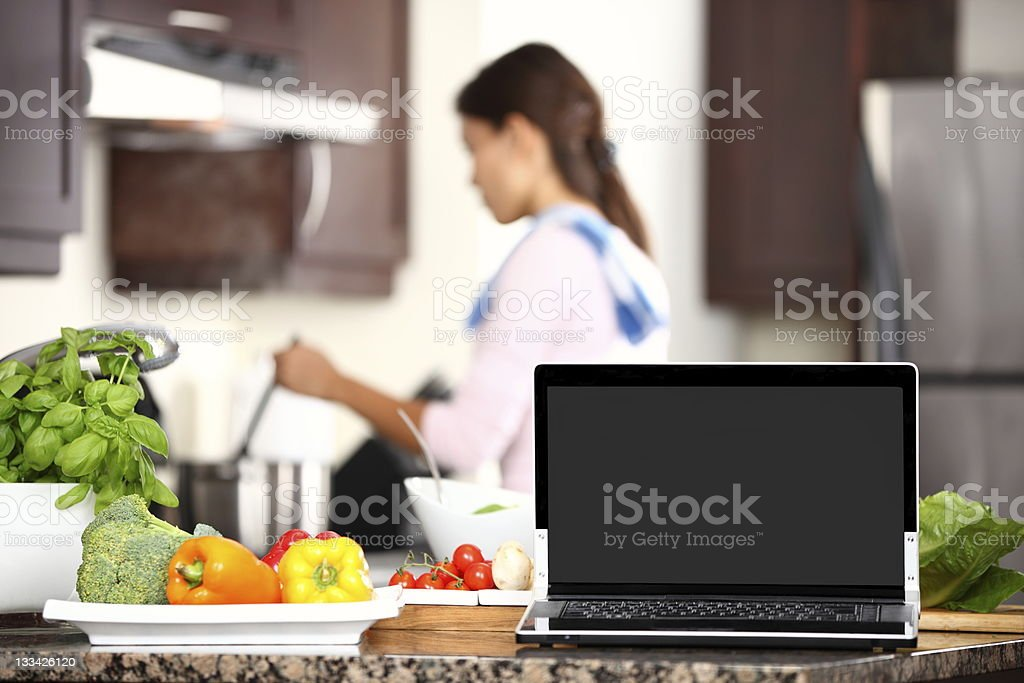 cooking and computer laptop concept stock photo