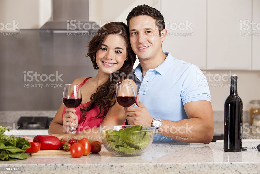 Cooking and drinking some wine royalty-free stock photo