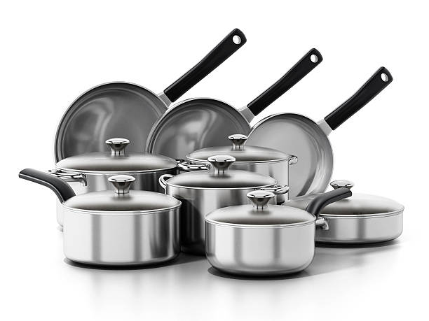 Cooking and frying pans set isolated on white. – Foto