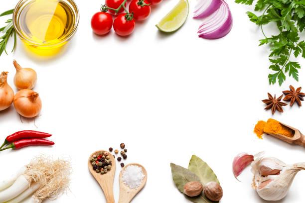 烹飪和調味品背景: 蔬菜, 草藥和香料框架。 - 材料 個照片及圖片檔