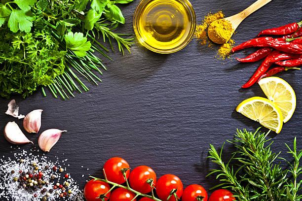 Cocina y condimento ingredientes de la frontera - foto de stock