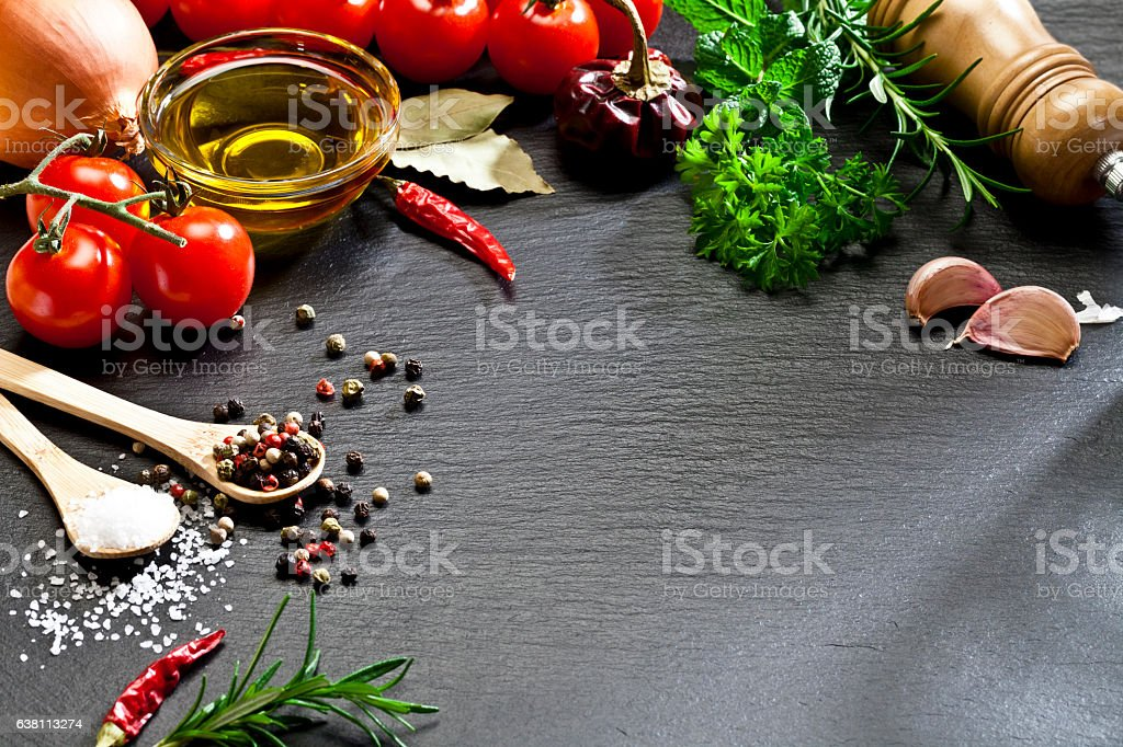 Cooking and seasoning ingredients frame stock photo