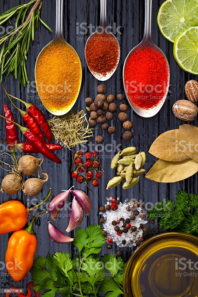 Cooking and seasoning ingredients stock photo