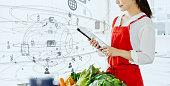 料理と技術のコンセプト。栄養士。栄養。