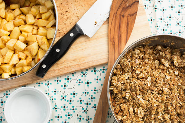 Cooking Apple Crumble stock photo
