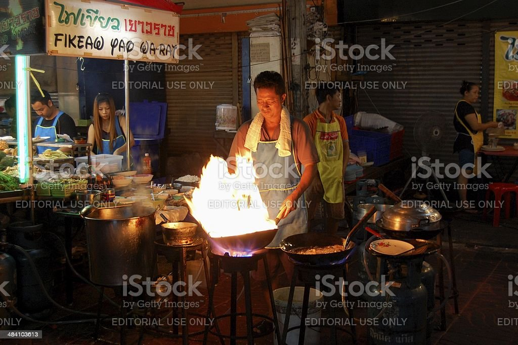 Cooking asian food in Chinatown bangkok, Thailand stock photo