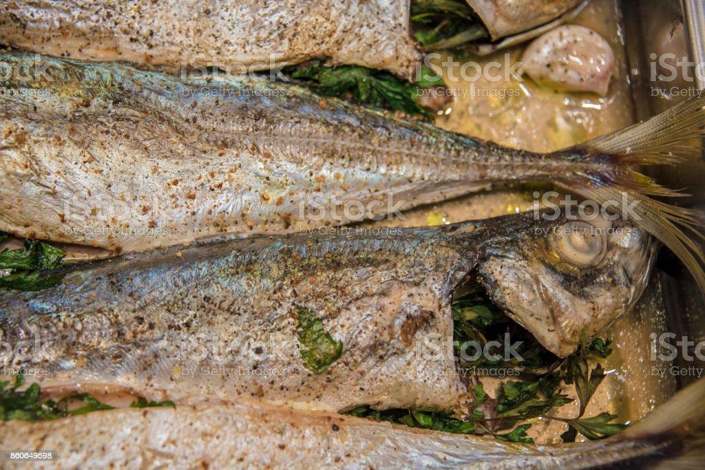 Cooking Atlantic Horse Mackerel stock photo