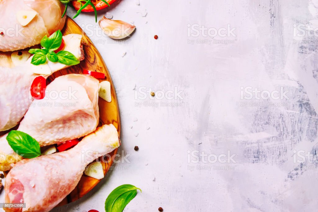 Cooking background, chicken legs stock photo