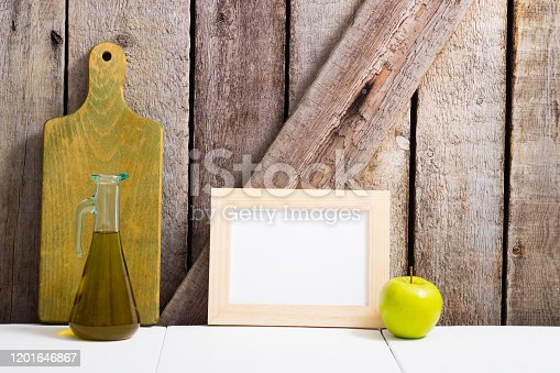 834157738 istock photo Cooking background, chopping board, empty frame 1201646867