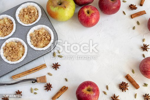 istock Cooking background - flat lay of inredients for apple pie or muffins, autumn bakery. 1061414250