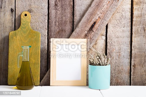 834157738 istock photo Cooking background, sage, chopping board, empty frame 1201648292