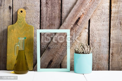 834157738 istock photo Cooking background, sage, chopping board, empty frame 1201648872