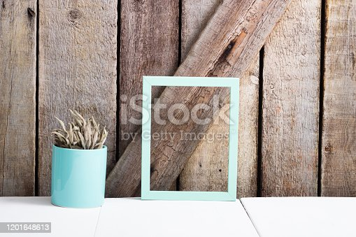 834157738 istock photo Cooking background, sage, empty picture frame 1201648613