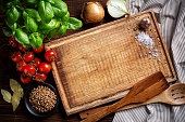 istock cooking background with old cutting board 509845648