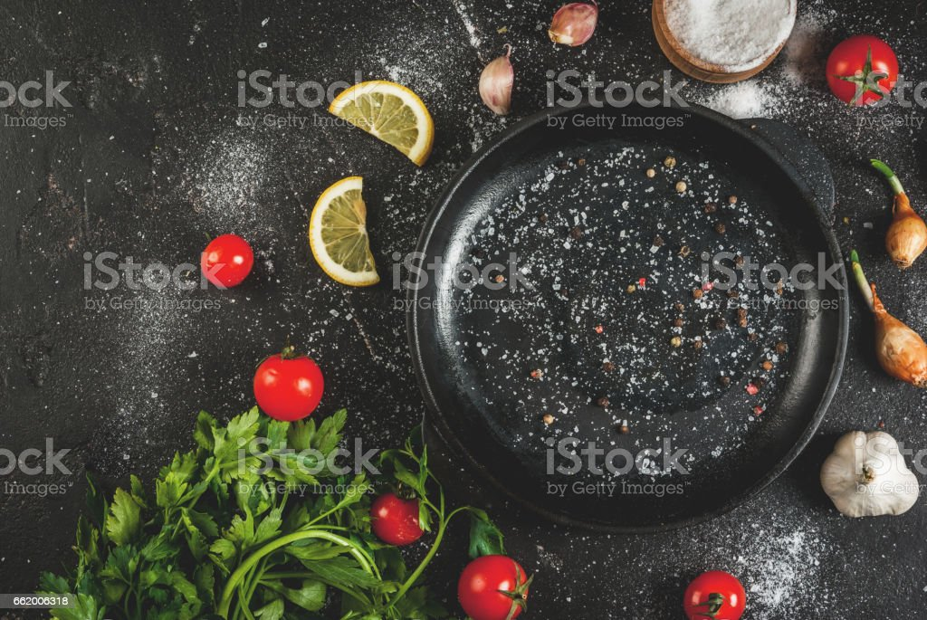 Cooking background with pan royalty-free stock photo