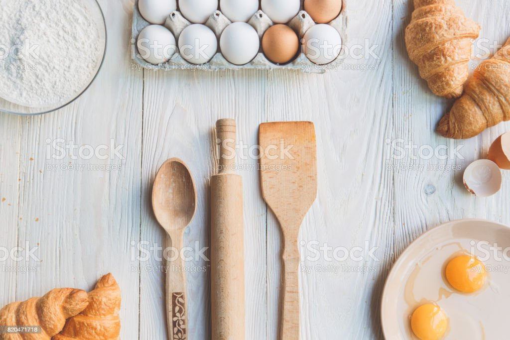 Cooking baking ingredients isolated on table stock photo