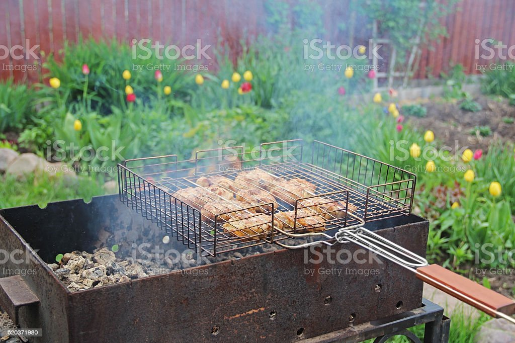 Cooking barbecue chicken thighs on coals. zbiór zdjęć royalty-free