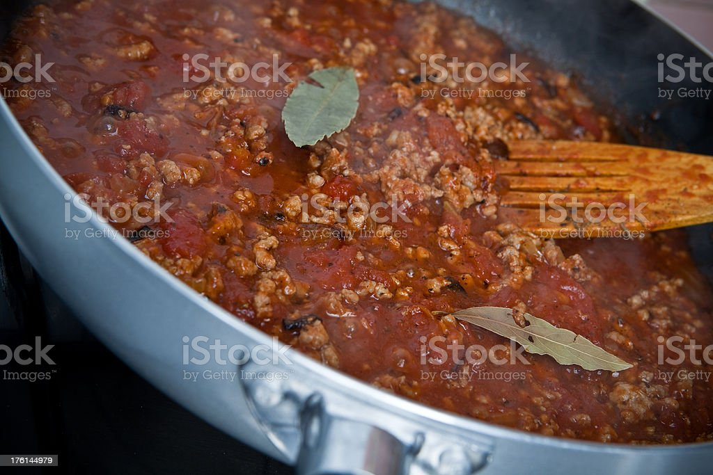 Cooking bolognese sauce royalty-free stock photo