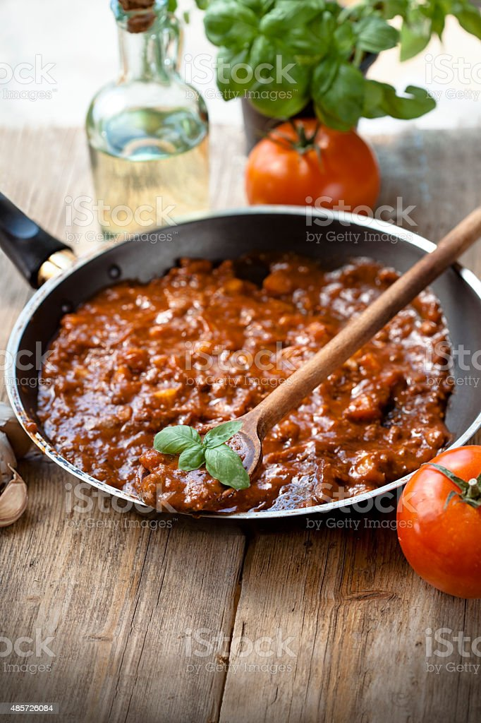 Cooking Bolognese Sauce stock photo