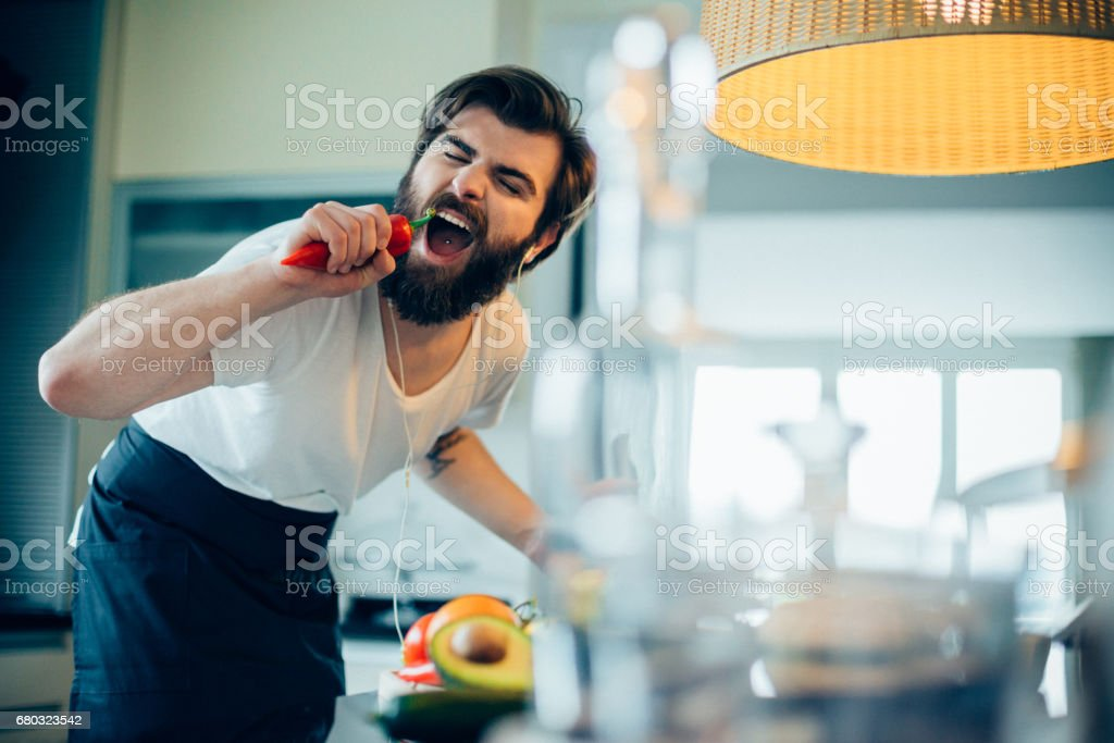 Cooking can be fun stock photo